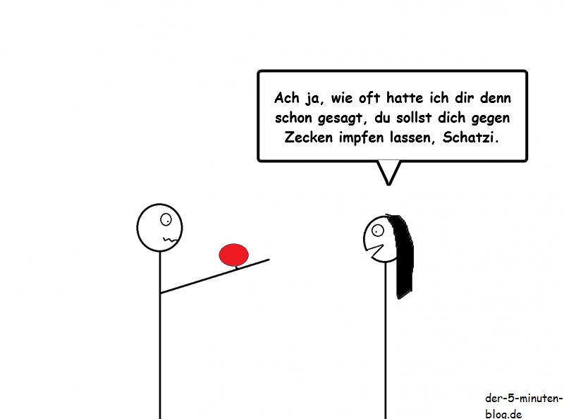 Cartoon Zeckenbiss Impfung